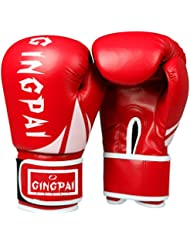 guantes de boxeo/ guantes de boxeo adulto saco de boxeo/ infantil guantes/Muay Thai pelea boxeo profesional guantes de boxeo/ guantes para hombres y mujeres-rojo