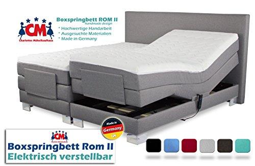 elektrisches boxspringbett 200x200 Boxspringbett ROM II 200x200 cm elektrisch verstellbar, 2 Motoren, Manufaktur Design. Härtegrad H2/H3. Qualität Made in Germany (200 x 200 cm)