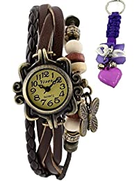 RTimes Vintage Butterfly Bracelet Wrist Watch for Women with Girl's Key Chain - Brown girl's watch