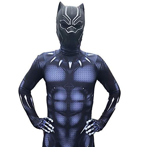 JU Kinder Black Panther Kleidung Captain America 3 Bürgerkrieg Panther Strumpfhosen Tichala Panther Cosplay Kostüm,A-Children/XXL (Black Panther Kostüm Frauen)