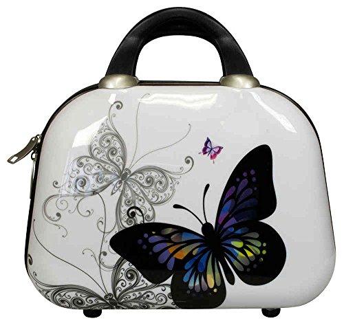 set jusqu'à 4 vacances valises voyage bagages trolley vanity coque rigide 4 roues legér motif PM (S, Papillon Blanc)