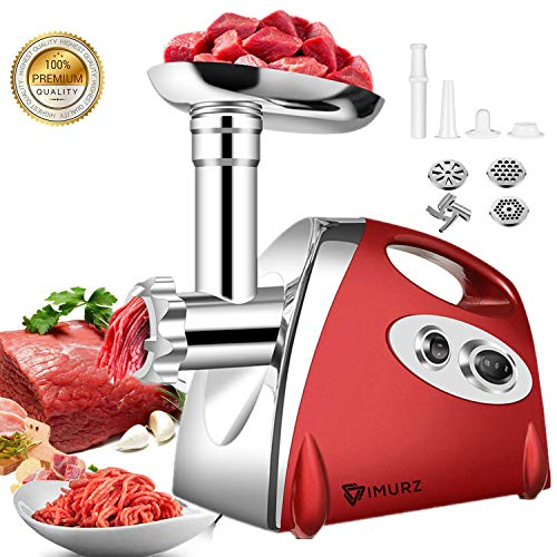 Elektrischer Fleischwolf,Ksun Profi Meat Grinder Wurstmaschine Set mit 3 Mahlplatten und Wurstfüllrohren für den Hausgebrauch, Multifunktions Küchenmaschine Fleisch mit Edelstahlklinge,rot