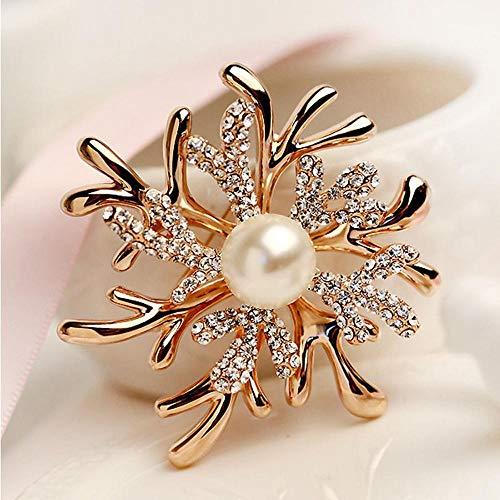 Olydmsky Brosche Geweih Funken Perlmutt Korallen Blumen weibliche Brosche Brosche Diamant Kleid Accessoires