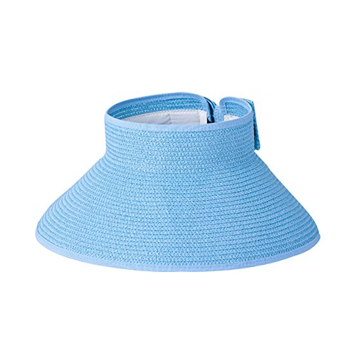 Surker Girl Fashion Lady Beach Sun Visor Pliable Enroulez large Brim Chapeau de Paille Bleu