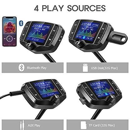 FM-Transmitter-NULAXY-18-Farbbildschirm-Transmitter-2019-NEU-WQC-30-untsttzt-Auto-Batterie-LesenHandsfrei-Anrufenuntersttzt-USBTF-Carte-Aux-EQ-ModeKM29-Schwarz