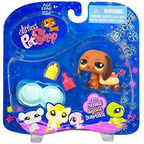 Littlest Pet Shop Funniest Assortment DASCHUND PUPPY (#992) with Mustard And Ketchup Bottle, Double Dog Bowl And Hot Dog Collectible Figure by Littlest Pet