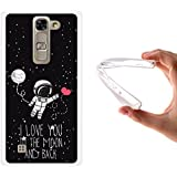 Funda LG G4c, WoowCase [ LG G4c ] Funda Silicona Gel Flexible Astronauta Corazón - I Love To the Moon And Back, Carcasa Case TPU Silicona - Transparente