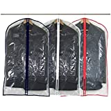 """Hangerworld 100 cm (40"""") Suit/Garment Clothes Cover Bags, Pack of 6, Clear with Mixed Trim Colours"""