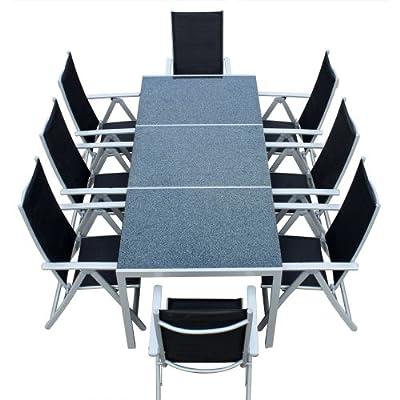 Gartenmöbel Alu Textilene Granittisch Sitzgruppe 9tlg. Stuhl Tisch Gartentisch Gartenset