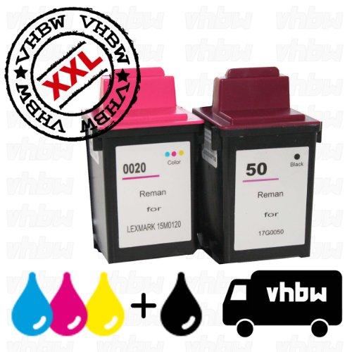VORTEILSPACK Bundle Tintenpatronen Druckerpatronen Patronen Tinte Refill schwarz farbig kompatibel für LEXMARK 50, 17G0050 & 20, 25, 15M0120, 15M0125 (Tinte Schwarz 17g0050)