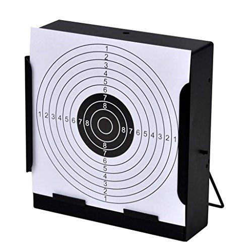 Nishore Zielscheiben Halterung Scheibenkasten mit Kugelfänger 14 cm + 100 Papier-Ersatzzielscheiben für Kugelfang Luftgewehr