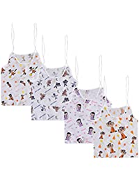 Chhota Bheem Baby Printed Cotton White Color V-Neck Knot Top Jhabla, Vest for New Born - Pack of 4
