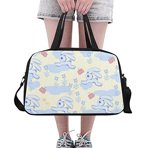Plsdx Tote Zippered Rabbit Butterfly Bunny Tier Yoga Gym Totes Fitness Handtaschen Seesäcke Schuhbeutel für Sportgepäck Womens Outdoor Large Duffel Bags für Männer (Bag Tote Zippered Handtasche)