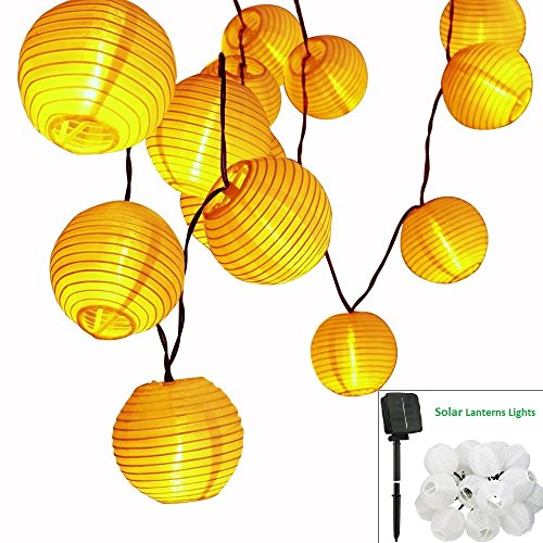 MAVIE Solar Outdoor Lichterkette 21.3Ft 6.5M 30 LEDs Lampions Laterne Solarbetrieben Lichterkette Wasserfest Weihnachten Dekoration für Party, Weihnachten, Garten, Patio, Halloween, Dekoration (Power Solar Lantern)