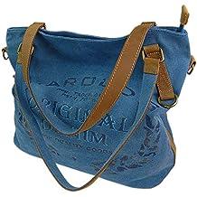 b2b50597c8200 ekavale Große Canvas Damen Handtasche Shopper Umhängetasche Schultertasche  Baumwollstoff Segelstoff Tasche