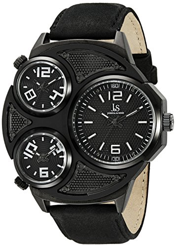 Joshua & Sons Men's JX105BK Black Triple Time Zone Quartz Watch with Black Dial and Black Leather Strap