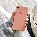 YZSJK Apple Phone Case Coquille Anti-Chute Matériau Silicone Liquide pour Iphone X Max XR XS X 7 8 Plus Étui de téléphone en Forme de Coeur de Dessin animé Mignon,Orange,iPhone7/8