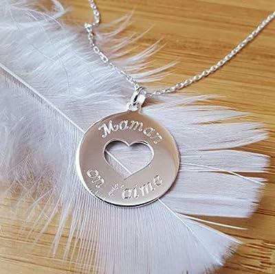 MELI MELOW Collier pendentif médaille ronde coeur et gravure de votre choix recto verso en argent 925/000 - bijou personnalisé gravé made in France MIF