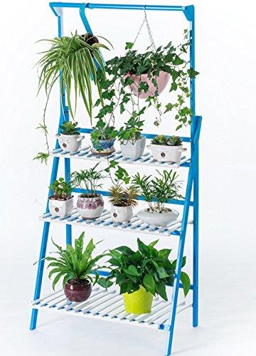 Aufbewahren & Ordnen Wohnzimmer hängende mehrstöckige Blumenregale Holzboden Balkon hängende Korb Blumentopf Rack (Farbe : Blau und weiß, größe : 70 * 40 * 96cm)