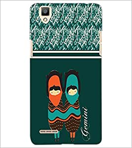PrintDhaba Zodiac Gemini D-2743 Back Case Cover for OPPO F1 (Multi-Coloured)