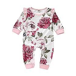 Livoral Baby Drucken Overall, niedlicher Warmer Langer Hülsen-gekräuselter Blumenoverall des Babys(Weiß,0-3 Monate)