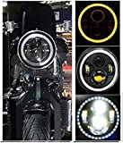 AutoBizarre 7 inch Headlight DRL With Full Ring Angel Eye Projector Light For Thar/Bullet/All Royal Enfield Bikes