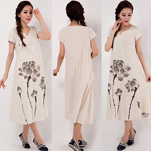 Azbro Women's Chinoiserie Print Loose Short Sleeve Cotton Linen Dress Beige