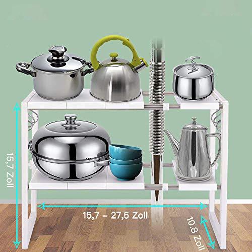 Erweiterbares Regal unter dem Waschbecken,Mikrowellen-Regal, Flexible Spülschrankregal Bathroom Under Shelf Kitchen Shelf Kitchen Rack ,2 Ebenen Adjustable Shelving for Sink Cabinet -