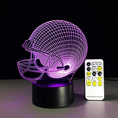 SZQLL 3D Nachtlicht Baseball Rugby Helm Nachtlicht Optische Täuschung Tischlicht Stimmung Lampe Touch Fernbedienung 7 Farben Home Light Party Decor