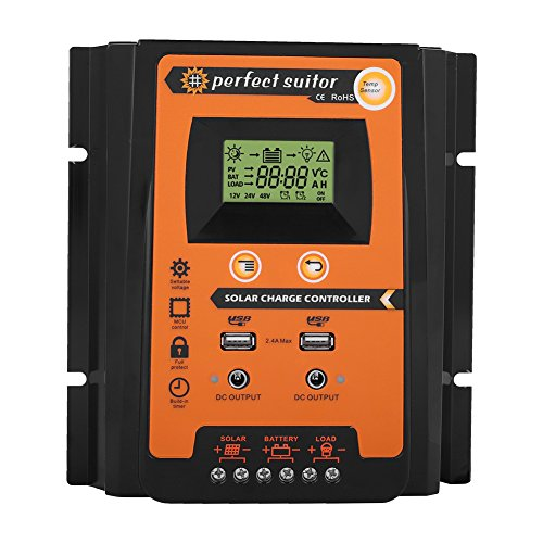 MPPT Solarregler, 12V / 24V LCD Display Solar Laderegler mit Dual USB Port Automatische Identifizierung Systemspannung(50A) -