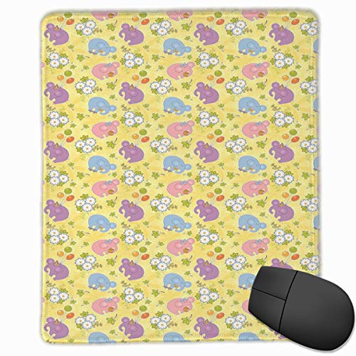 Mouse Mat Stitched Edges, Blossoming Cartoon Flowers And Animal Mascots Balloons Bow Ties Playful Clip Art,Gaming Mouse Pad Non-Slip Rubber Base - Mascot-clip