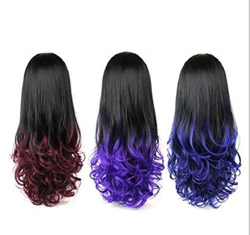 Gemischte Farbe Mode Ombre Big Wave Synthetische Perücke lockiges langes 3/4 Haar kein Pony zwei Töne Hitzebeständige halbe Perücken (schwarz / lila) , (Big Dick Kostüme)