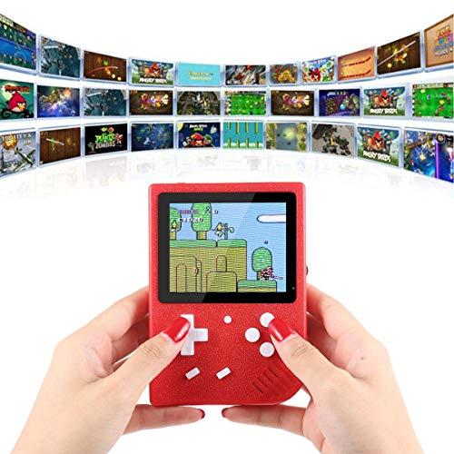 USB-Aufladung Retro-Spielkonsole, tragbar, 600 eingebaute Handheld-Spiele, tragbar, digital, 8,9 cm (3,5 Zoll) LCD-Bildschirm, Spielunterhaltung, Weihnachten, Kinder rot -