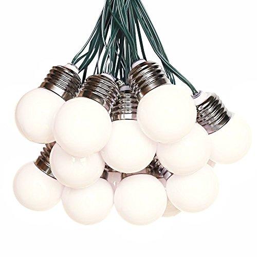 Solarbuy24 - luci solari con 15 lampadine (g40) per giardini ed esterni, con stringa, impermeabili e ideali per natale, 6 m, colore bianco caldo (15 lampadine)