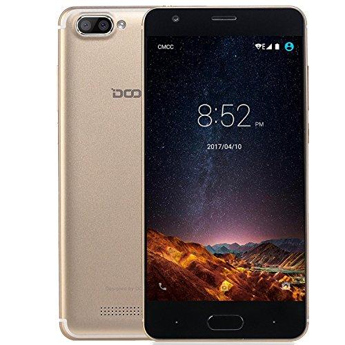 rag, DOOGEE X20L 4G Dual SIM Android 7.0 Günstig Handy, 5 Zoll HD IPS MT6737 Quad Core handys, 2GB RAM +16GB ROM mit Dual 5.0MP Kamera, GPS, Wifi, Bluetooth 4.0 - Gold (Schöne Billige Android-handys)