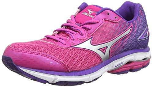 Mizuno Wave Rider 19, Scarpe da Corsa da Donna, Colore Rosa (Fuchsia Purple/Silver/Royal Purple), Taglia 8 UK (42 EU)