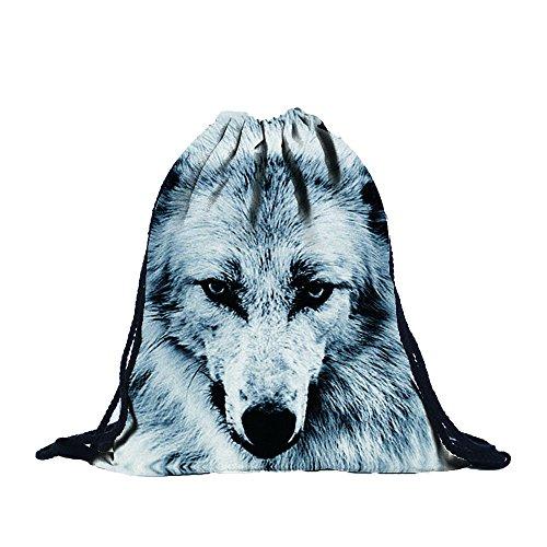 Tefamore Unisex Tunnelzug Rucksäcke Tier 3D-Druck Mode Taschen Wolf
