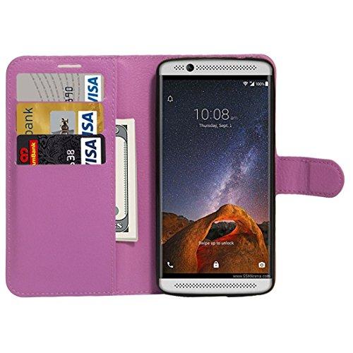 Für ZTE AXON 7 Mini Litchi Textur Horizontale Flip Stand PU Leder Cover Case mit Halter & Card Slots & Wallet by diebelleu ( Color : Magenta ) Purple