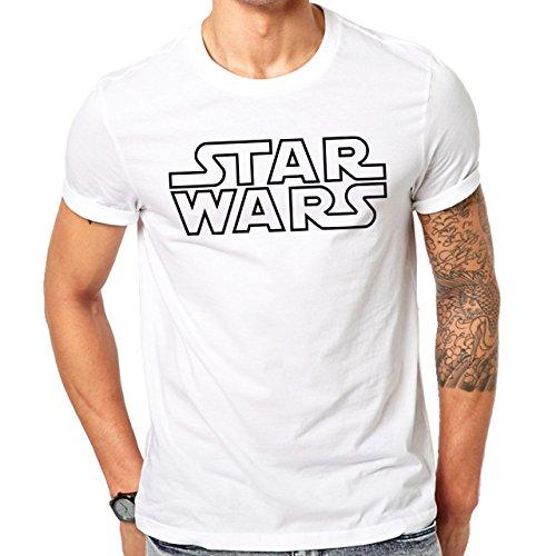 Star Wars Logo Black Outlines Herren T-Shirt Weiß
