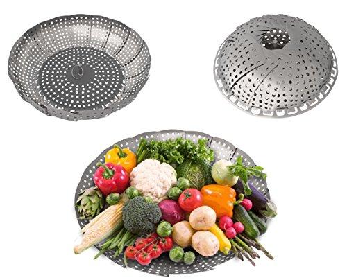 Edelstahl Gemüse Steamer Körbe für Herdplatte Töpfe und andere elektronische Schnellkochtöpfe oder Töpfen. Jetzt, Kochen Sie Ihr Gemüse in eine gesunde Art Gesundes durch Dampfgaren -