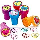 German-Trendseller ® 6 x Tampons avec encre intégrée que┃Cher Coeur smiley┃ les enfants