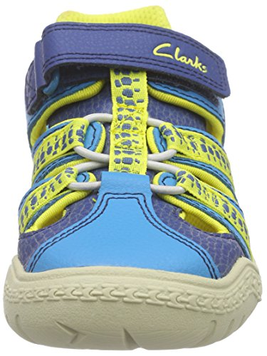 Clarks Kids Stomp Ride Inf, Baskets Basses garçon Bleu (Blue Combi)