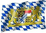 Flagge/Fahne BAYERN MIT LÖWE (kleine Rauten) Staatsflagge/Landesflagge/Hissflagge mit Ösen 150x90 cm, sehr gute Qualität