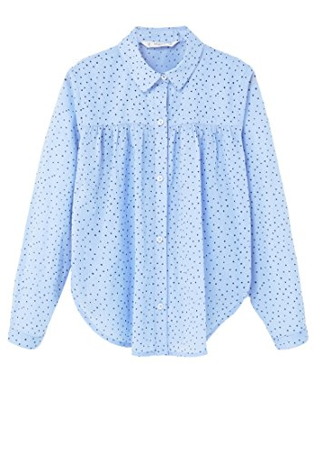 mango-kids-ruffled-cotton-shirt-size9-10-years-colorblue