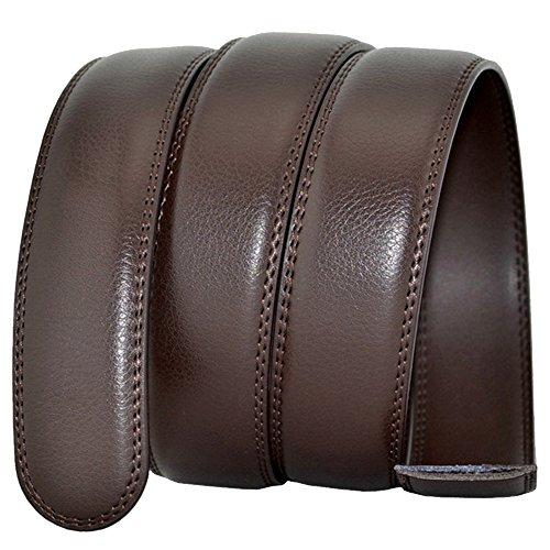 HAHAEMMA 35 mm Leather Belt for Men without Buckle Ratchet Belt