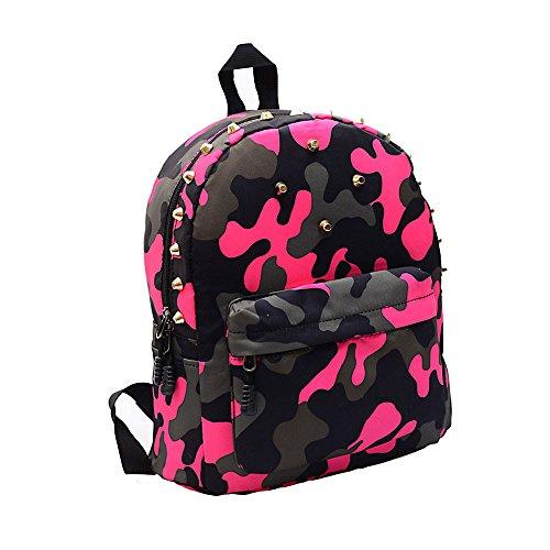TIFIY Damen Mädchen Beiläufig Reisen Wandern Punk Niet Tarnung Segeltuch Rucksack Schulranzen (Pink)