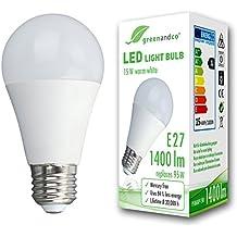 Bombilla LED greenandco® E27 15W (corresponde a 95W) opaca 1400lm 3000K (blanco cálido) 270° 230V AC, sin parpadeo, no regulable