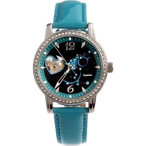 Time100 W80050L.11A Reloj mecánico de horóscopos Aquarius para mujeres, correa de ante color azul