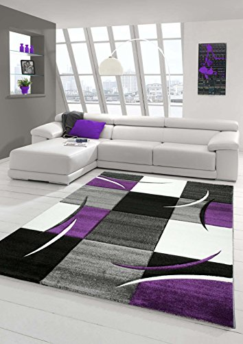 Designer Teppich Moderner Teppich Wohnzimmer Teppich Kurzflor Teppich mit Konturenschnitt Karo Muster Lila Grau Creme Schwarz Größe 80x150 cm