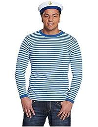 Ringelshirt langarm blau-weiß gestreift Unisex Pullover Oberteil Shirt  Karneval bf98393877